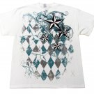 Hybrid Mens M Nautical Star T-shirt Filigree and Argyle Graphic Tee Shirt White