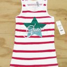 Guess Girls size XL-16 White and Pink Stripe Tank Top Shirt with Logo Star Youth New
