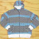 Ground Level Boys L Black Blue and White Chevron Print Hoodie Sweatshirt Large