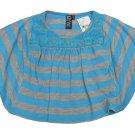 Glam by Zunie Girls XS 4-5 Blue and Gray Stripe Bat Sleeve Shirt