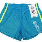 FILA Girls size 7-8 Blue Mesh Gym Shorts with Neon Green Stripes Athletic Sport New