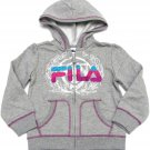 Fila Girls size 5-6 Gray Hoodie Sweatshirt with Purple Stitching Kids Zip Up New