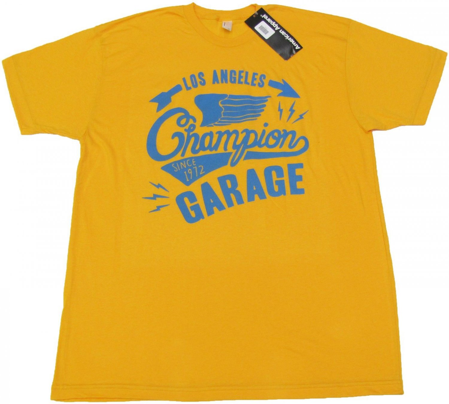 American Apparel Mens XL Los Angeles Champion Garage Tee Shirt Gold Yellow New