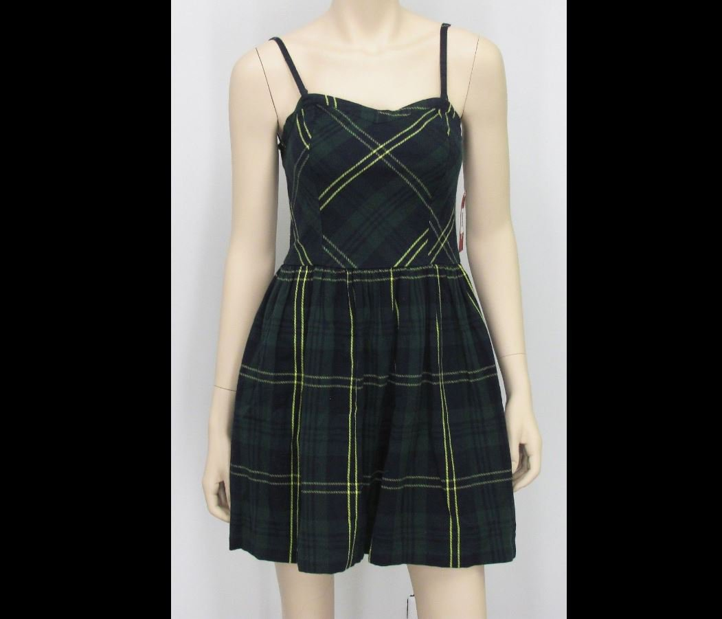 Arizona Juniors M Green Plaid Flannel Dress Sleeveless Medium New