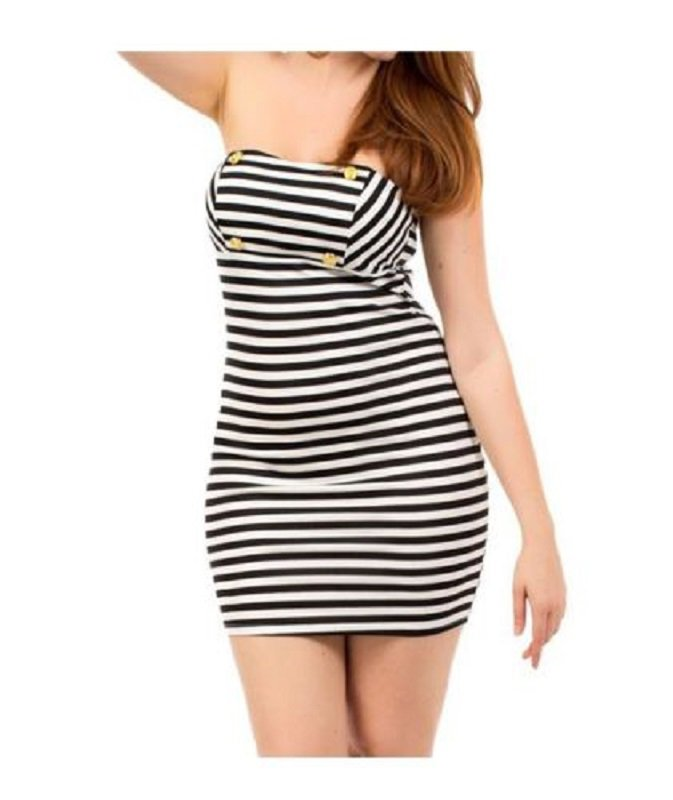 Fashion Love Womens L Black and White Stripe Bodycon Stretch Strapless Dress Large