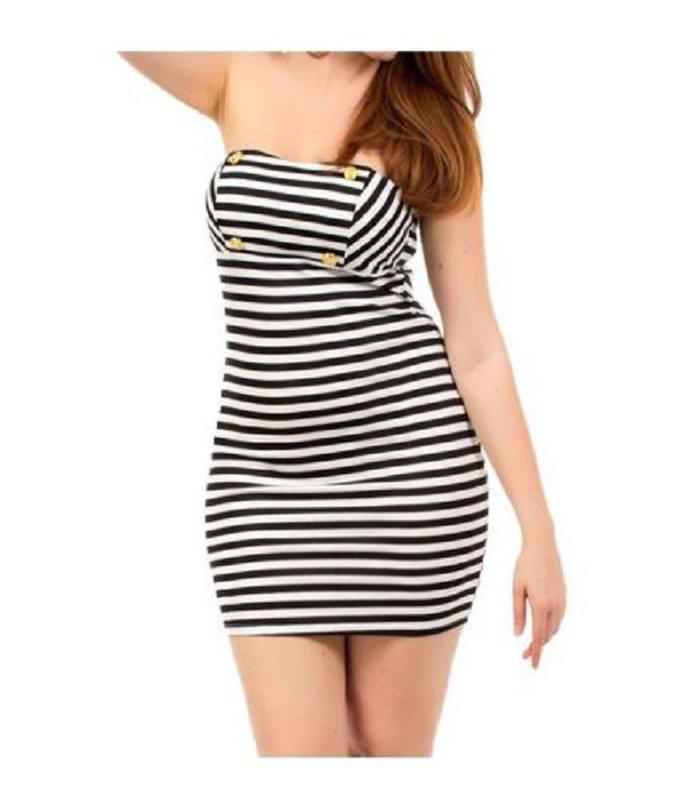 Fashion Love Womens S Black and White Stripe Bodycon Stretch Strapless Dress Small
