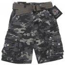 English Laundry Boys size 7 Gray Camo Cargo Shorts with Belt New