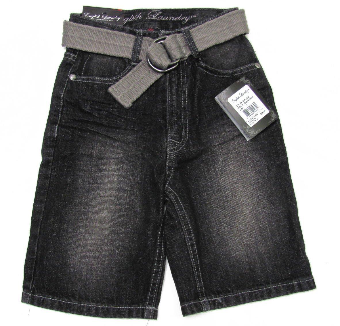 English Laundry Boys size 10 Black Jean Shorts with Belt New