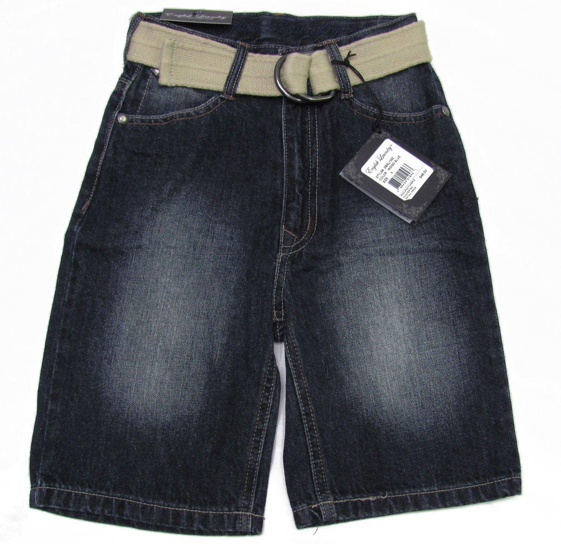 English Laundry Boys size 4 Dark Blue Jean Shorts with Belt New
