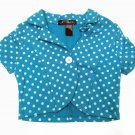 Eye Candy Girls size 4 Turquoise Blue Polka Dot Shrug Crop Jacket Kids
