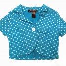 Eye Candy Girls size 4 Turquoise Blue Polka Dot Shrug Crop Jacket Kids