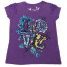 Arizona Girls size 4 Purple Love Graphic Tee Shirt Kids Glitter T-shirt New