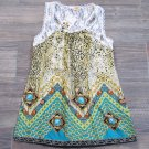 Available Juniors M Leopard Print Tank Top Tunic Shirt with Sheer Lace Back Teal Green
