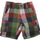 Arizona Boys Size 4 Plaid Cargo Shorts Green Red Blue Block