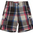 Arizona Boys Size 7 Middleton Plaid Cargo Shorts Brown Blue Red