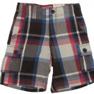 Arizona Boys Size 5 Middleton Plaid Cargo Shorts Brown Blue Red