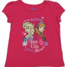 Disney Girls 10-12 Frozen Elsa Anna Sister Tee Shirt Pink Strong Bond Strong Heart T-shirt