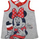 Disney Baby Girls 18 Mos Minnie Mouse Tank Top with Bow Back Shirt Red Blue Gray