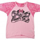 Disney Girls L 10-12 Minnie Mouse Shirt Pink Burnout Raglan High-Low Tee New