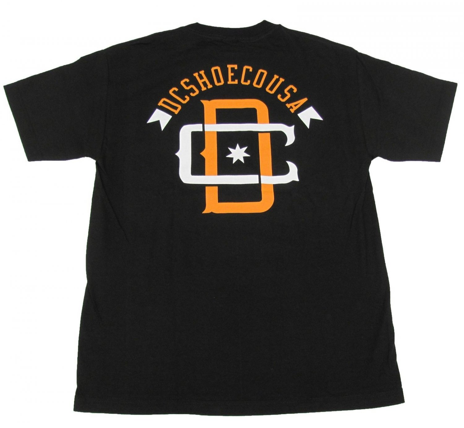 DC Shoes Mens S YUSA Tee Shirt Black with White and Orange Logo Small New