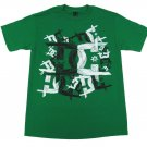 DC Shoes Mens S Midevil Tee Shirt Green T-shirt with Black and White Logo Small New