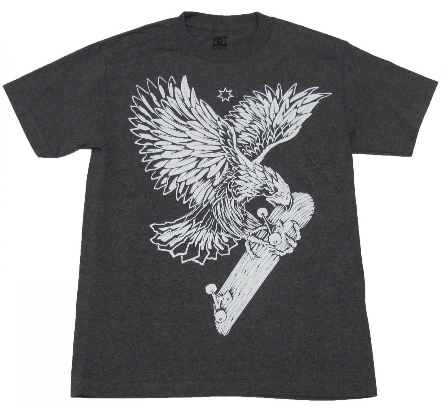 DC Shoes Mens S Woodpusher Tee Shirt Eagle Hawk Skateboard T-shirt Charcoal Gray Small