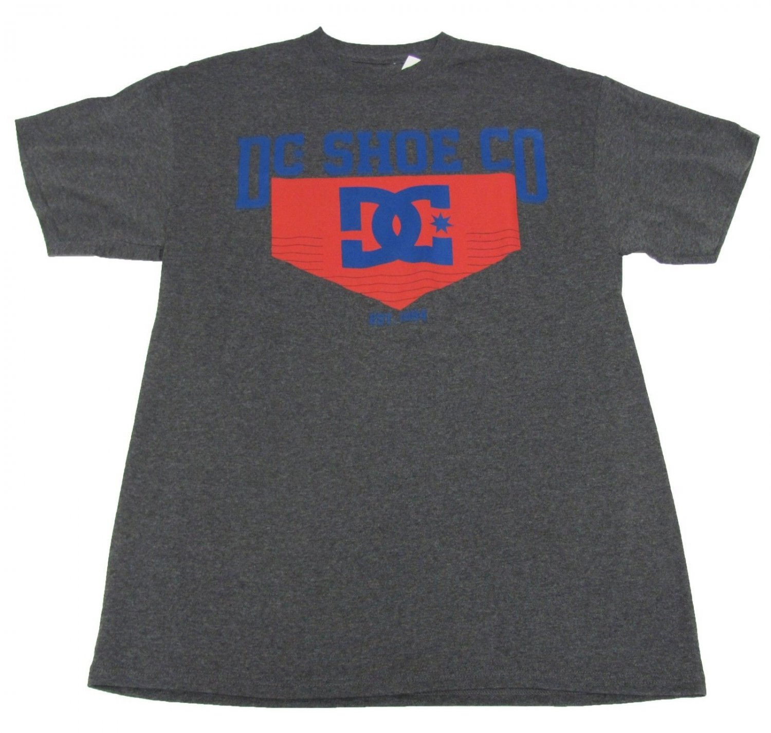 DC Shoes Mens S Starship Tee Shirt Charcoal Gray Red Blue T-shirt Small New