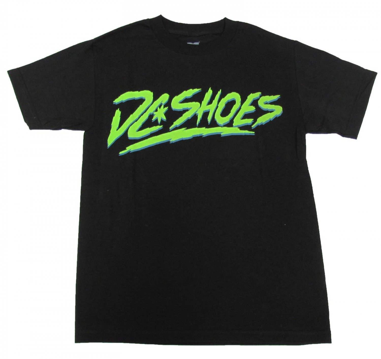 DC Shoes Mens S Dynamo Tee Shirt Black T-shirt with Green Logo Small
