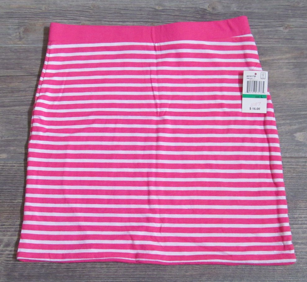 Energie Girls L Pink and White Striped Skirt Youth Large New