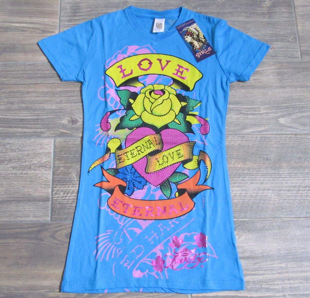 Ed Hardy Girls L 12 Eternal Love V-neck Tee Shirt Blue Rose T-shirt Youth Large