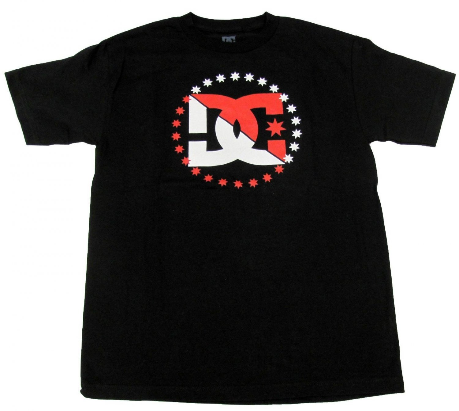 DC Shoes Mens M Power Move Tee Shirt Black T-shirt with Red and White Logo Medium