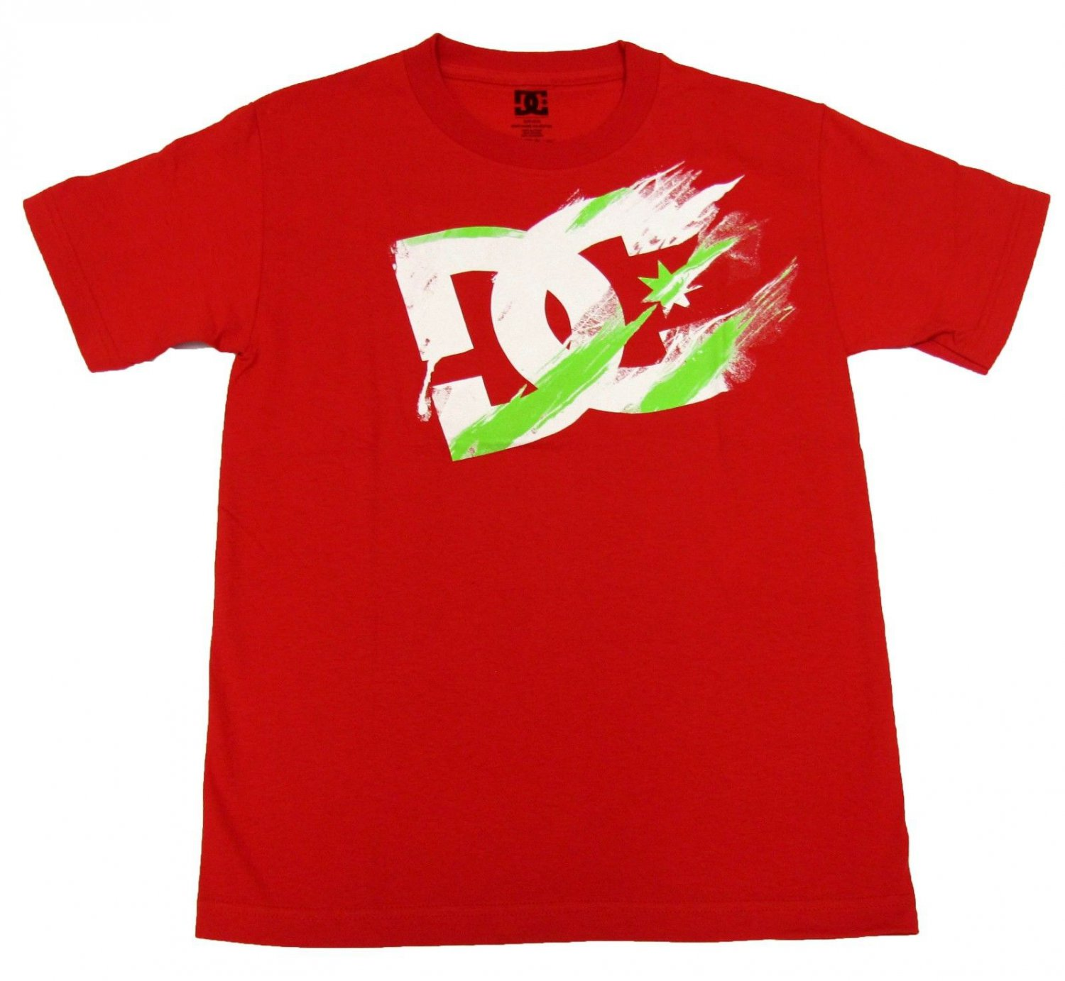 Dc Shoes Mens S Former Tee Shirt Red T-shirt with White and Green Logo Small New