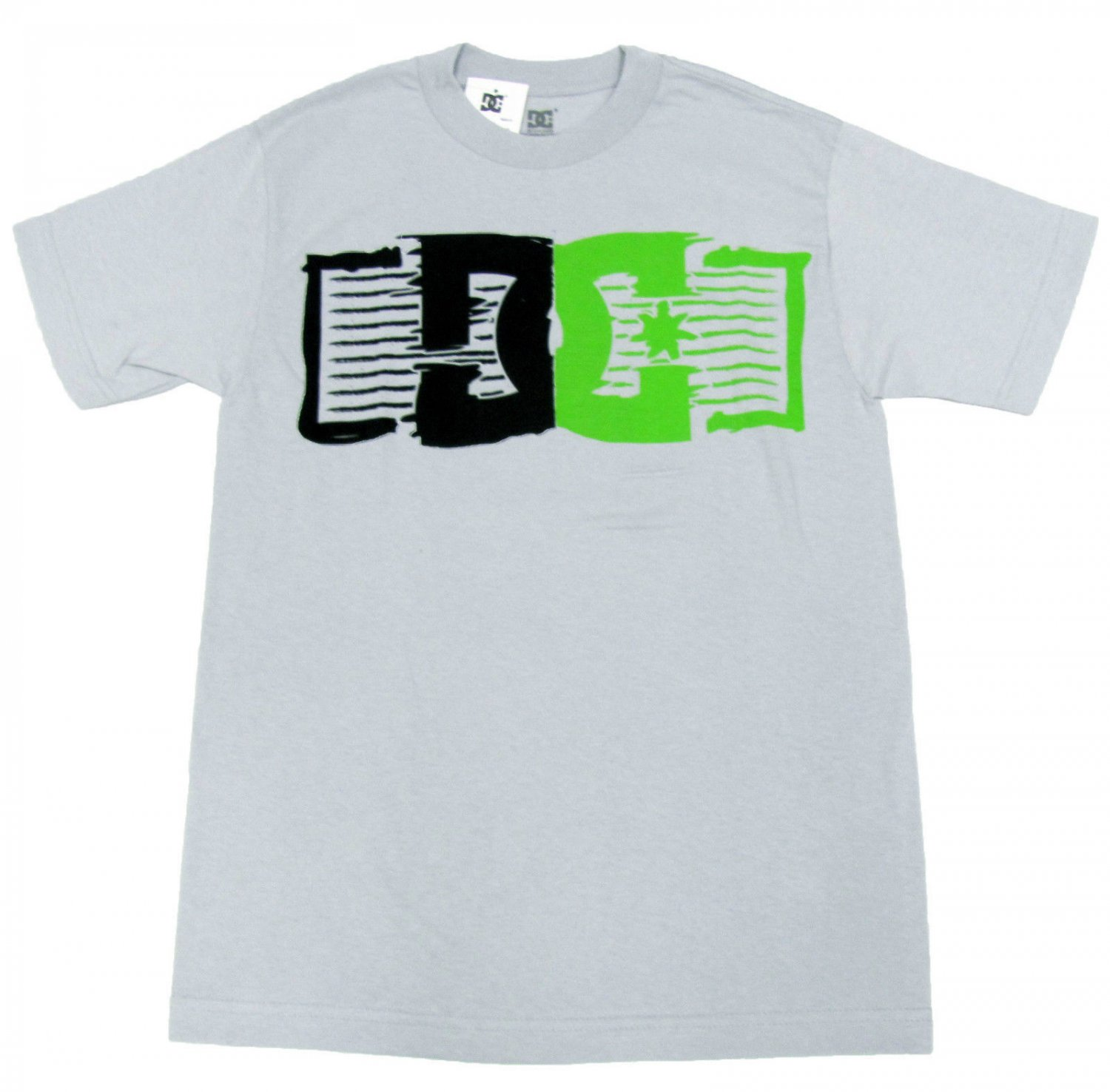 Dc Shoes Mens S Politics Tee Light Gray T-Shirt with Black and Green Logo Small