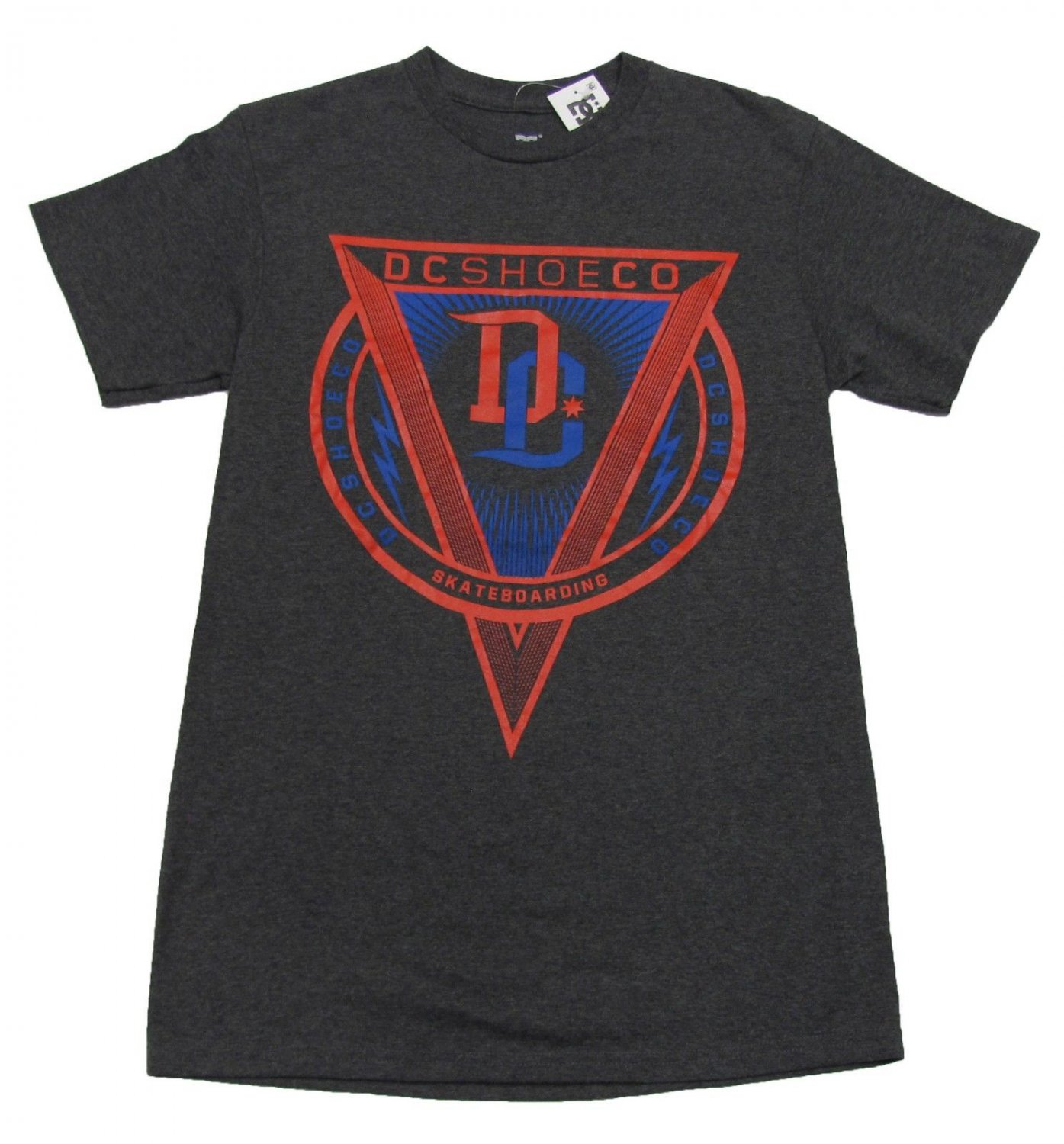 DC Shoes Mens S Triangle Tee Shirt Charcoal Gray Crew T-shirt Small New