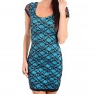 Derek Heart Juniors M Blue Stretch Mini Dress w Black Lace Overlay & Criss-Cross Cut-Out Back