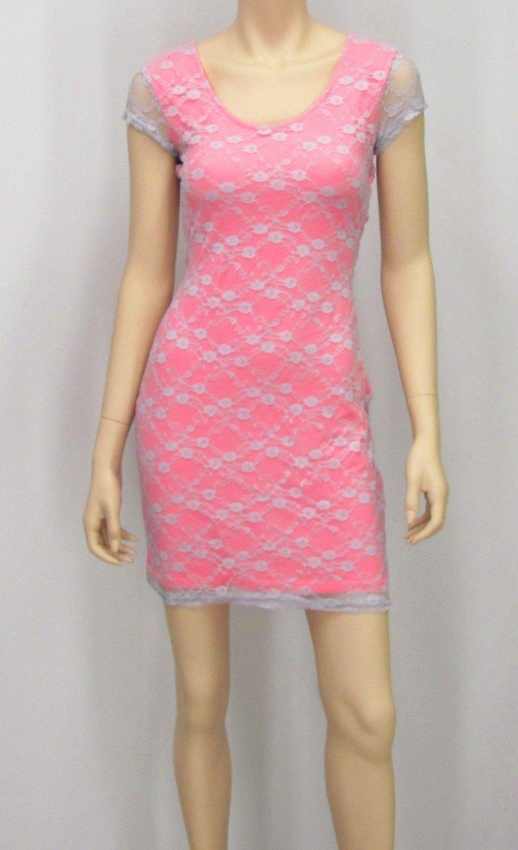 Derek Heart Juniors L Pink Stretch Mini Dress w Gray Lace Overlay & Criss-Cross Cut-Out Back