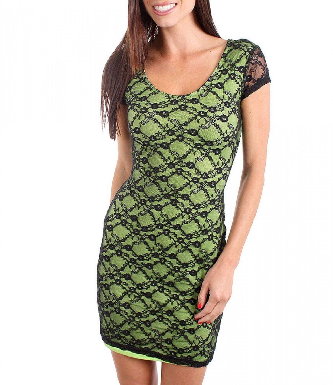 Derek Heart Juniors M Green Stretch Mini Dress w Black Lace Overlay & Criss-Cross Cut-Out Back