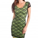 Derek Heart Juniors M Green Stretch Mini Dress w Black Lace Overlay & Criss-Cross Cut-Out Back