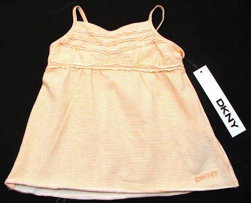 DKNY Baby Girls 18 Mos Orange Stripe Tank Top Cami Shirt
