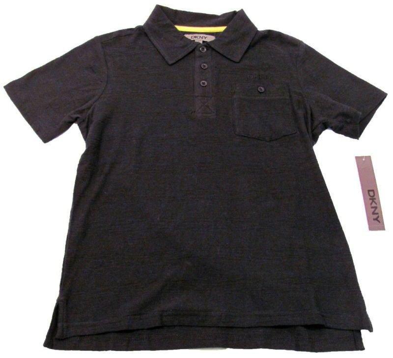 DKNY Boys S Black Stripe Polo Shirt with Chest Pocket Youth Small New
