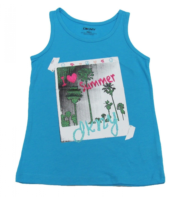 DKNY Girls S I Heart Summer Glitter Graphic Tank Top Shirt Aqua Stone Blue