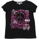 DKNY Girls size 5 City Peace Graphic Tee Shirt Kids Black T-shirt New