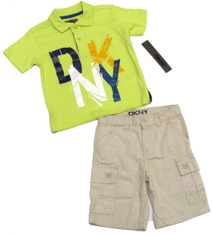 DKNY Boys 2T Green Polo Shirt and Khaki Shorts Set New