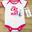 Dr Seuss Cat in the Hat Bodysuit 9 Mos White and Pink Baby Girls New