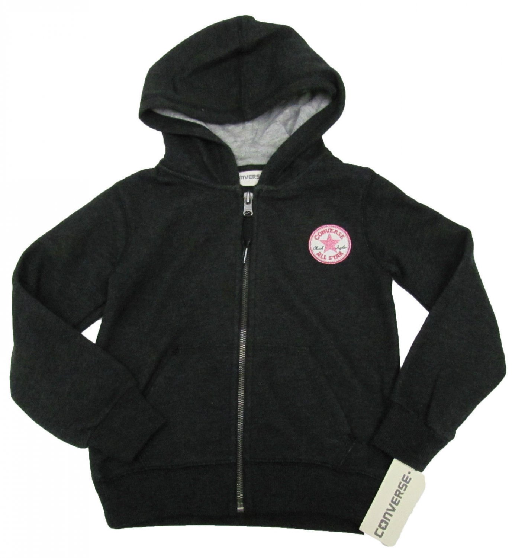 Converse Girls 4 Zip Hoodie Kids All Star Sweatshirt Dark Gray