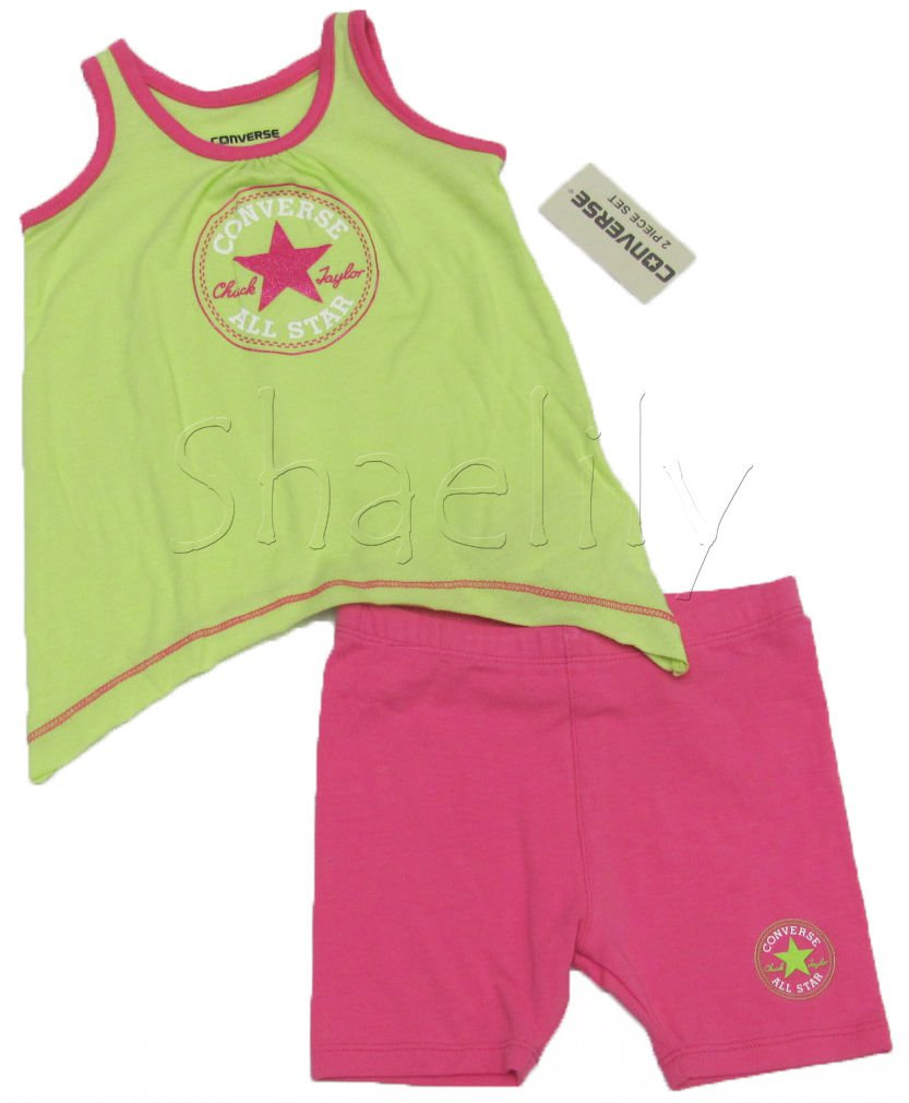 Converse Baby Girls 12 Mos Green Tank Top Shirt and Pink Shorts 2-Piece Set