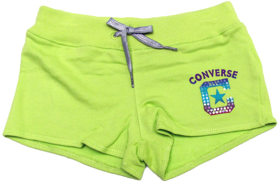 Converse Girls 6 Green Shorts Kids Cotton New