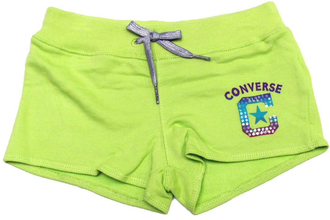 Converse Girls 5 Green Shorts Kids Cotton New