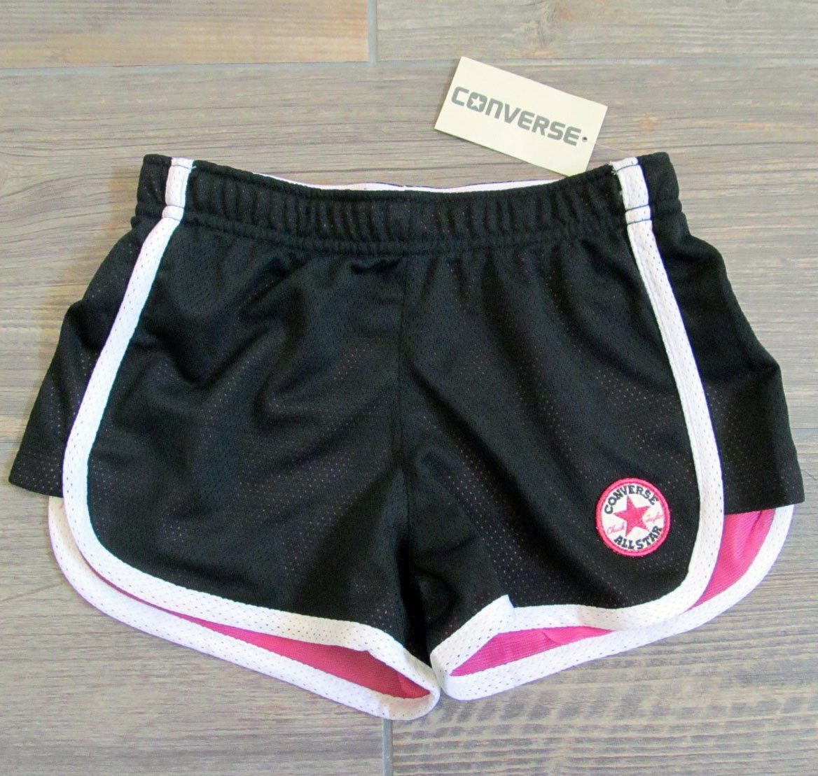 Converse Girls 6 Black Gym Shorts with Fold Over Waistband Athletic Mesh New
