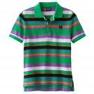 Chaps Boys size 5 Polo Shirt Green Stripe Pique Cotton Short Sleeve Kids